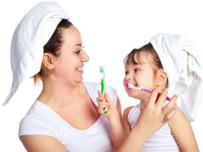 Mother and child holding toothbrush